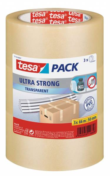 tesapack® Ultra Strong, transparent (PVC), 3 Rollen