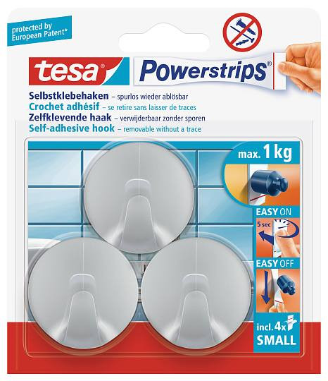 tesa Powerstrips® Haken Small Rund chrom 55778