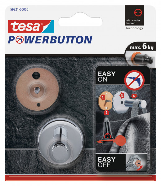tesa Powerbutton® Haken Universal medium