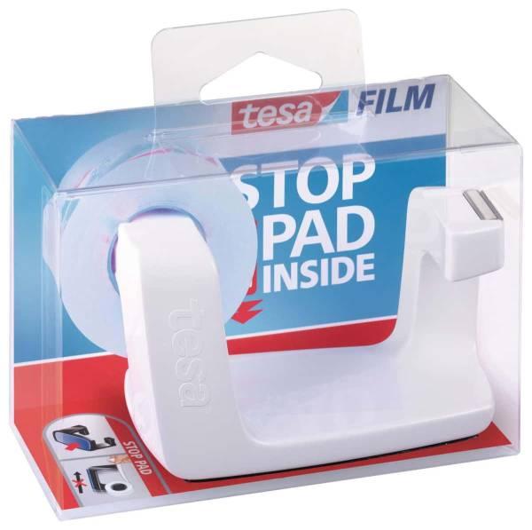 tesafilm® Tischabroller Easy Cut® Frame weiß + 1 Rolle tesafilm® kristall-klar