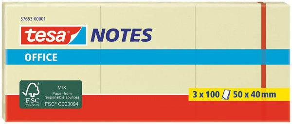 tesa® Office Notes 3 x 100 Blatt, gelb