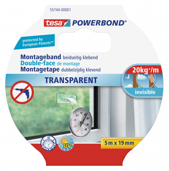 tesa Powerbond® Montageband Transparent 5m:19mm