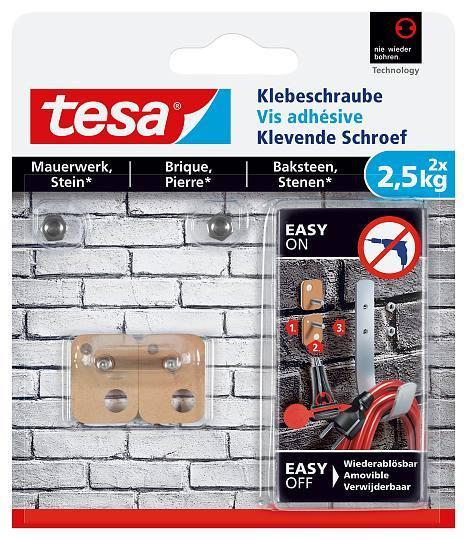 tesa® Klebeschraube für Mauerwerk und Stein 2,5kg 77902 rechteckig