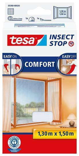 tesa® Insect Stop Versandrückläufer Fliegengitter COMFORT für Fenster Farbe weiß