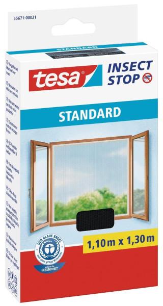 tesa® Insect Stop Versandrückläufer Fliegengitter STANDARD für Fenster anthrazit