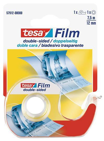 tesafilm® doppelseitig + Einwegabroller, Blister