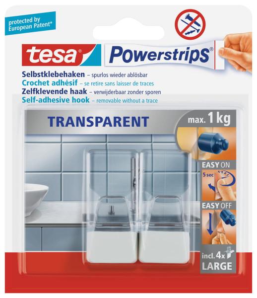 tesa Powerstrips® transparent Haken Large - weiß