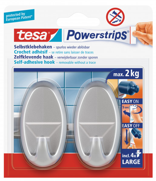 tesa Powerstrips® Haken Large Oval matt-chrom