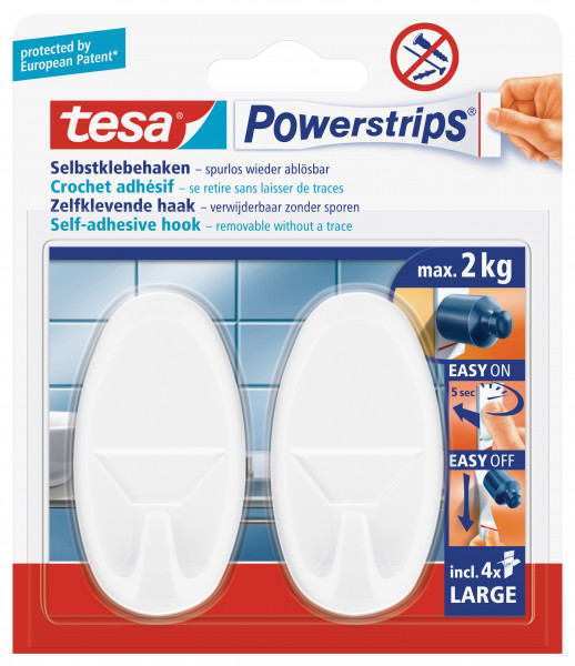 tesa Powerstrips® Haken Large Oval, weiss