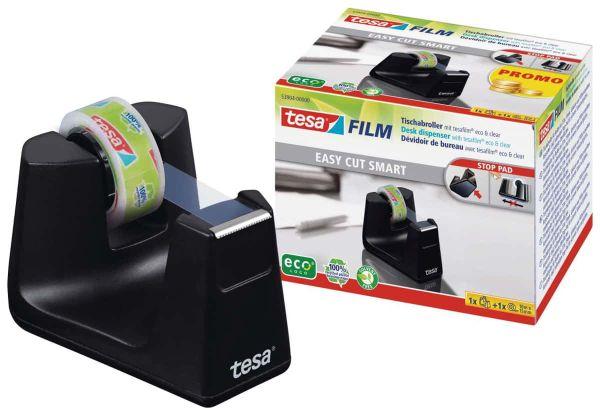 tesafilm® Tischabroller Smart ecoLogo® + 1 Rolle tesafilm® Eco & Clear