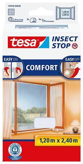tesa® Insect Stop Versandrückläufer Fliegengitter COMFORT für bodentiefe Fenster weiß