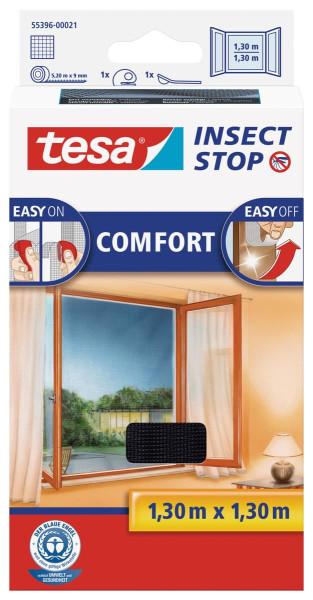 tesa® Insect Stop Versandrückläufer Fliegengitter COMFORT für Fenster Farbe anthrazit