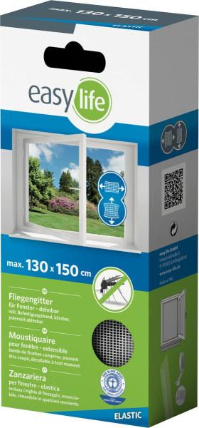 Ieasylife Elastic-Fliegengitter für Fenster 130x150cm mit Klettband