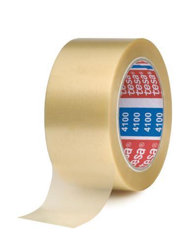 tesapack 4100 geprägtes Premium PVC Verpackungsklebeband transparent stehend