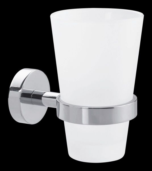 verchromt Nie Wieder Bohren Smooz Zahnputzbecherhalter 125mm x 80mm x 115mm belastbar bis 6kg satiniertes Glas Klebel/ösung inkl