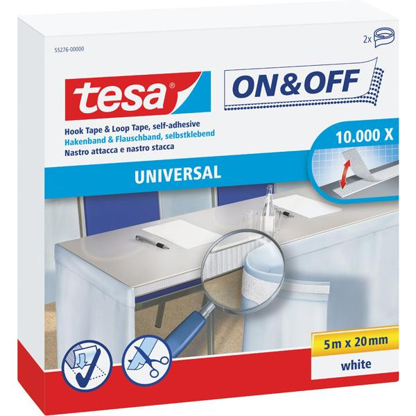 tesa® On & Off Longrolls Hakenband & Flauschband selbstklebend