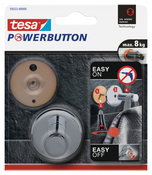 tesa Powerbutton® Haken Universal Large