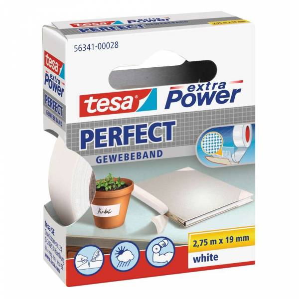 tesa extra Power® Perfect Gewebeband, weiß