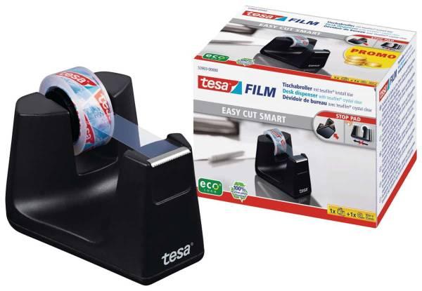tesafilm® Tischabroller Smart ecoLogo® + 1 Rolle tesafilm® kristall-klar