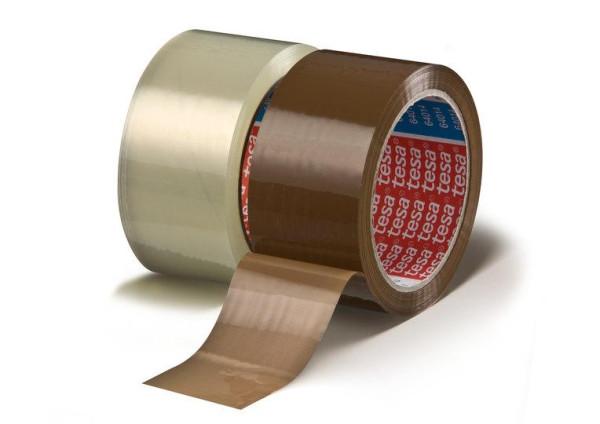 tesapack 64014 Verpackungs-Klebeband PP leise Gruppenbild 50 mm rollen farblos und braun